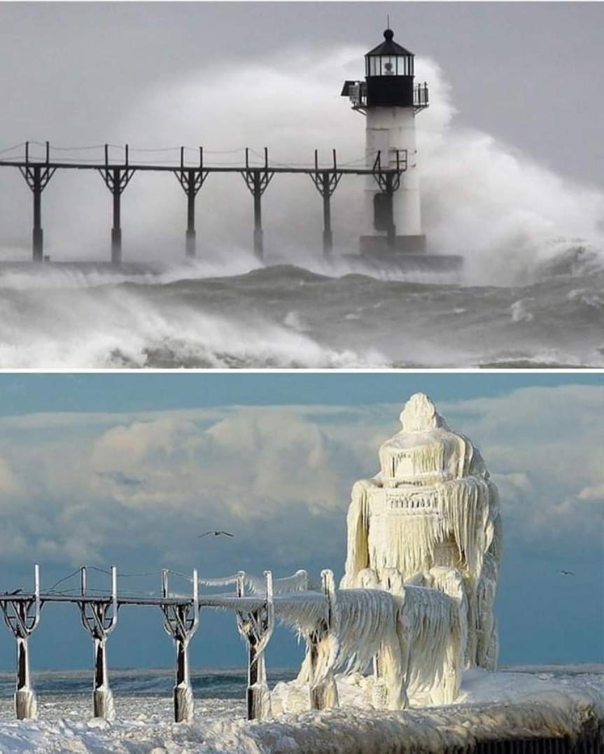Michigan Lighthouse Before And After Winter Storm
